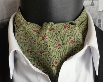 Cravat, green paisley cravat, reversible cravat, green mini floral print on reverse