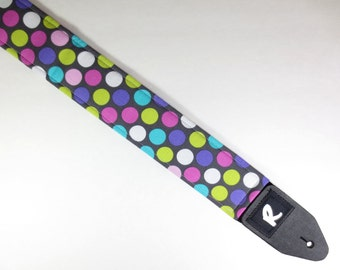 Multi Colored Polka Dot Guitar Strap - Cute - Adjustable - Girly - Women