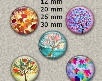 "80% off sale 12 mm, 20mm, 30 mm, 1 inch Musical Trees Bottle Cap Digital Images for Bottle Caps 1"" Round Images Digital Collage Sheet"