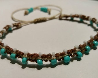 Hemp Bracelet Turquoise and White Handmade, Beaded Bracelet, Hemp Anklet, Hemp Jewelry, Unique, Turquoise, White, Hemp, Bracelet, Jewelry.