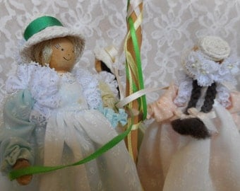 Maypole Wooden Doll England Spring Mother's Day
