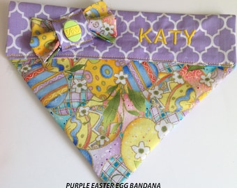 Purple Easter Egg Over the Collar Bandana for Dogs and Cats
