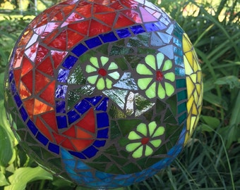Mosaic Stained Glass Paisley Design Garden Orb