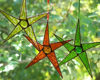 Stained Glass 5 Point Stars, Stained Glass Orange Star, Stained Glass Yellow Star,Stained Glass Green Star