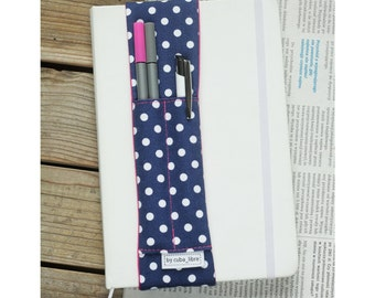 Notebook pen holder - Navy/dots