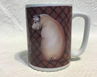 Otagiri HeartPrint Mug, Japan, Basket of Apples Mug, Pig Mug, Hog Mug, Pig and Apple Basket Mug, Piggie Mug