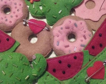 Assorted Beaded Felt Brooches: Donuts, Watermelon, and Cacti! Oh, My!