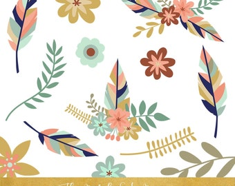 Boho Clipart Set - Feathers & Flowers - INSTANT DOWNLOAD - 20 .PNG Files