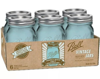 RARE! 6 Pack 16 oz Pint Blue Ball Mason Jars with lids Heritage Blue Ball Canning Jars Crafts,  Soap Pump,  Ball Jar Lights Limited Stock