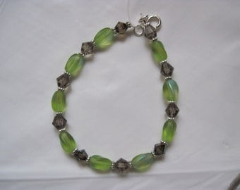 Gray Crystal and Lime Bracelet
