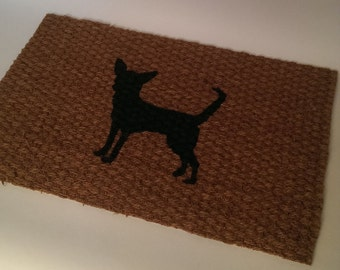 Thin Chihuahua Silhouette Doormat (indoor or outdoor use)