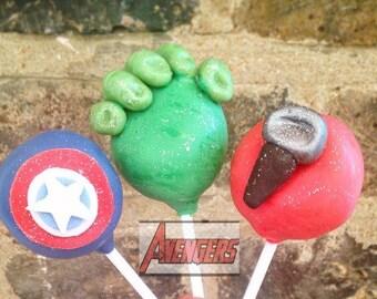 12 Marvel Avengers Cake Pops / Hulk  / Captain America / Thor