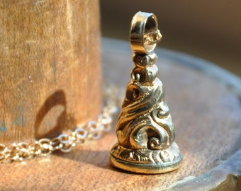 Victorian 9k gold foiled citrine intaglio seal fob necklace, circa 1850's