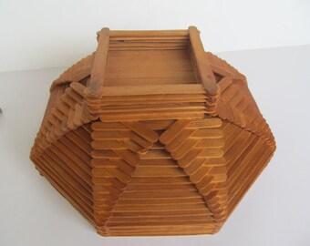 Bowl - Popsicle Stick Bowl - Vintage Wood Bowl  10''