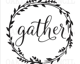 Primitive Thanksgiving STENCIL **gather** 6 sizes for Painting Fall Signs, Canvas, Fabric, Airbrush, Crafts, Wall Art and Decor