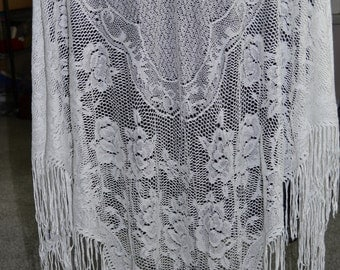 Vintage English Village Women's Shawl Wrap White With Intricate Pattern and Fringe Made in Japan