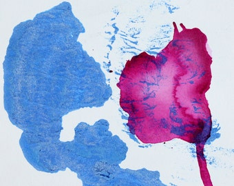 Blue Magenta Abstract Art Watercolor Painting Ink painting