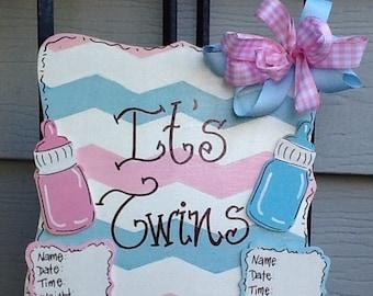 Twins hospital sign, twins door sign, newborn sign, baby hospital sign, baby announcement sign, twins announcement sign, newborn door sign