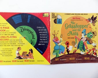 RESERVED FOR NICOLE - Vintage 70s read along book and 45 record set - The Grasshopper and The Ants - fab illustrations - Disneyland Records