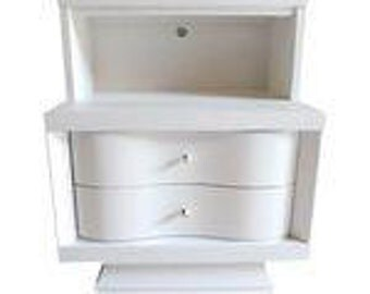 SALE! Org 295.00 Midcentury Modern Design Nightstand Newly Painted White 22 x 15 x 27H Excellent