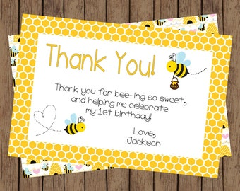 "Bumble Bee Birthday Party, Bumble Bee Thank You, Thank You Card, 1st Birthday, 2nd Birthday ""4x6"""