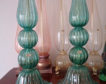 Murano glass teal and gold lamps
