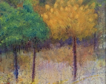 Walk in the Woods: Side by Side. Acrylic 16 x 20 original painting abstract landscape