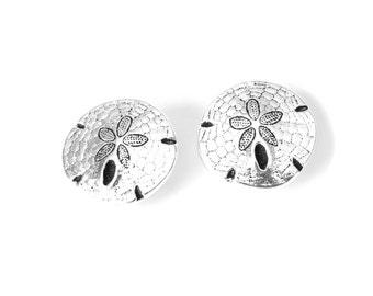 2x Sand dollar buttons antique silver finish, TierraCast metal shank buttons, beach themed jewelry making supplies, craft supplies UK