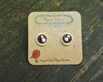 SALE Brown Eyeball Earrings, Psychobilly Jewelry, Pastel Goth, Glow in the Dark, Creepy Cute Earrings, Horror Earrings, Hypoallergenic