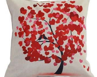 Love Bird Tree-  Pillow Cover
