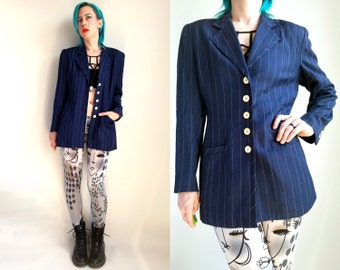 90s Clothing/ Pinstripe Jacket Vintage 1990s Womens Jacket Rayon Blazer Navy Jacket Navy White Pinstripe 90s Clothes Womens Size 6