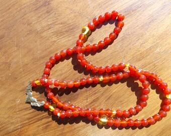 Carnelian,Amber, flying heart Tasbeh tasbih Misbah prayer necklace. 99x6mm