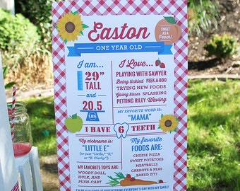 Farmers Market Party First Birthday Sign, Poster, Printable, Personalized, Matching - Digital File