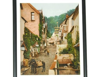 19th Century English Village Photochrom Chromolithograph