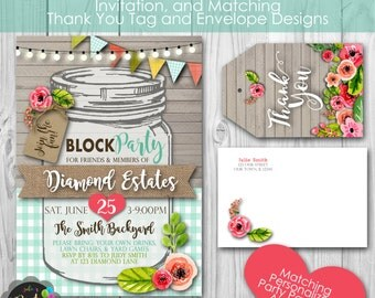 Rustic Mason Jar Block Party Invitation, plus Matching  Thank You Tag, Envelopes, Banner and Welcome Sign