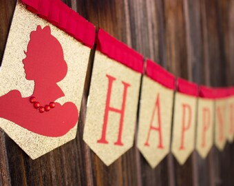 Snow White inspired Happy Birthday banner - Red and Gold banner - princess silhouette