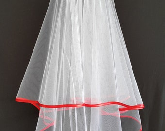 White Wedding Veil, Two Layers, Red Satin Edging.