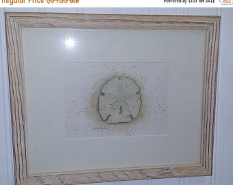 ON SALE NOW Vintage framed and matted D. Morgan Artist Signed Beach Theme Sand Dollar Print