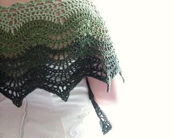 Green Lace shawl, Wedding Shawl, ChristmasInJuly, CIJ, Crochet Shawl, Bridal Shawl, Hand Crocheted Items, Silk Shawl, Gift for Her