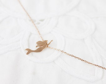 Dainty Mermaid Necklace . Dainty and Delicate Necklace Tiny Charm Necklace Birthday Gift