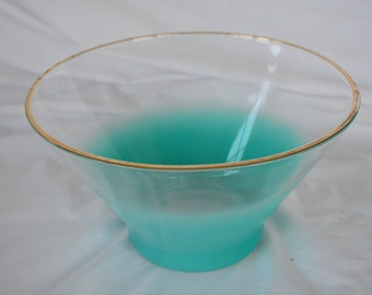 Atomic Style Turquoise Ombre Bowl with Gold Rim * MCM * Chip Bowl * Replacement Bowl * Salad Bowl * Fruit Bowl * Blendo Bowl * Faded Aqua
