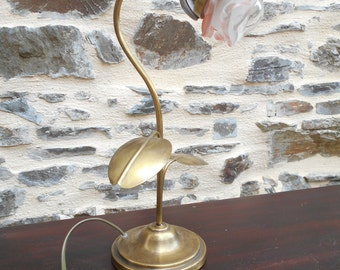 Vintage French Brushed Brass Flower Lamp.