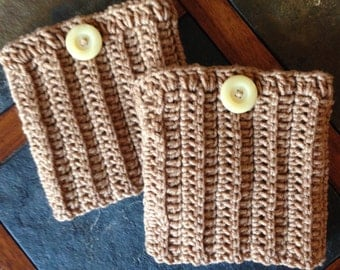 Boot Cuffs, Ladies - Teen, Leg Warmer, Boot Sock, Boot Toppers, Warm Brown Color
