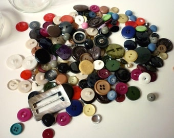 Glass Storage Jar of Vintage Buttons, Old Buttons, Misc. Buttons, Antique Buttons and Fastenings, Lots of Buttons, Crafts, Sewing Buttonalia