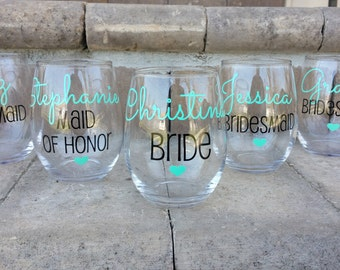 Personalized Bridesmaid Glasses, Bride and Bridesmaid Glasses, Bridesmaid Gift
