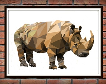 Geometric Rhinoceros, color poligonal Print, Woodland Animals, Rhinoceros Geometric Wall Art *221*