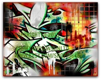 "Graffiti Initial ""I"" Canvas"