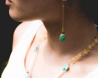 Turquoise Teardrop Chain Earrings-Turquoise Earrings-Antique Brass Earrings