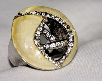 Bague strass et argent. Silver and strass ring