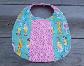 Patchwork baby bib-infant girl bib-seahorse baby girl bib-minky baby bib-shower gift- ocean girl bib